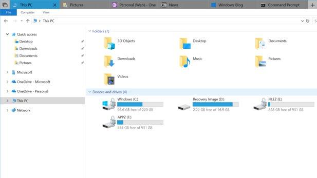 Voraussichtlich bekommt der Windows 10 Explorer mit dem Redstone-5 Update eine Tab-Funktion