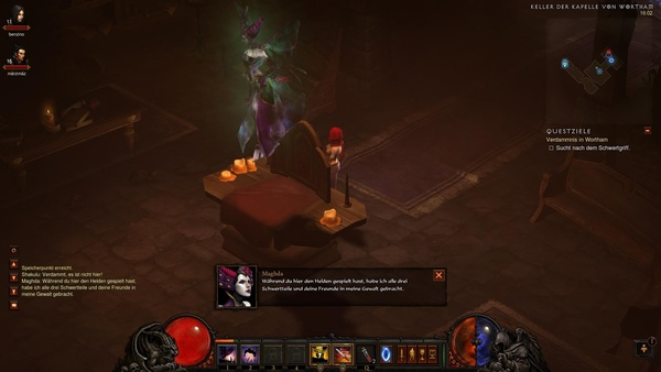 Diablo 3 - Komplettlösung : Im Keller der Kapelle von Wortham stoßen wir mal wieder auf die Hexe Maghda.