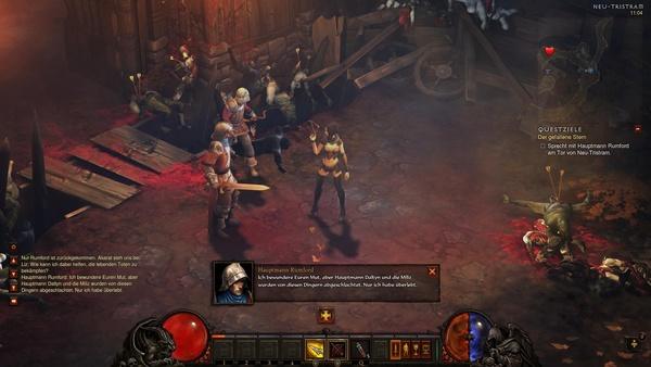 Diablo 3 - Komplettlösung : Wir treffen Hauptmann Rumford vor dem Tor nach Neu-Tristram.