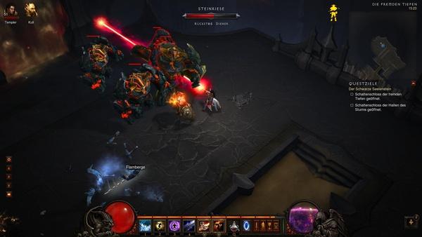 Diablo 3 - Komplettlösung : In den fremden Tiefen stoßen wir auf Steinriesen.