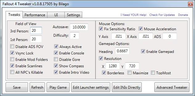 Kleines Tool, große Wirkung: Im Fallout 4 Configuration Tool regeln wir alle wichtigen Details.