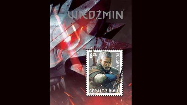Geralt, in der Version aus The Witcher 3 als Briefmarke in Polen.