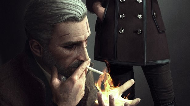 Geralt aus The Witcher als Film-Noir-Detektiv - eine Idee des Illustrators Astor Alexander.