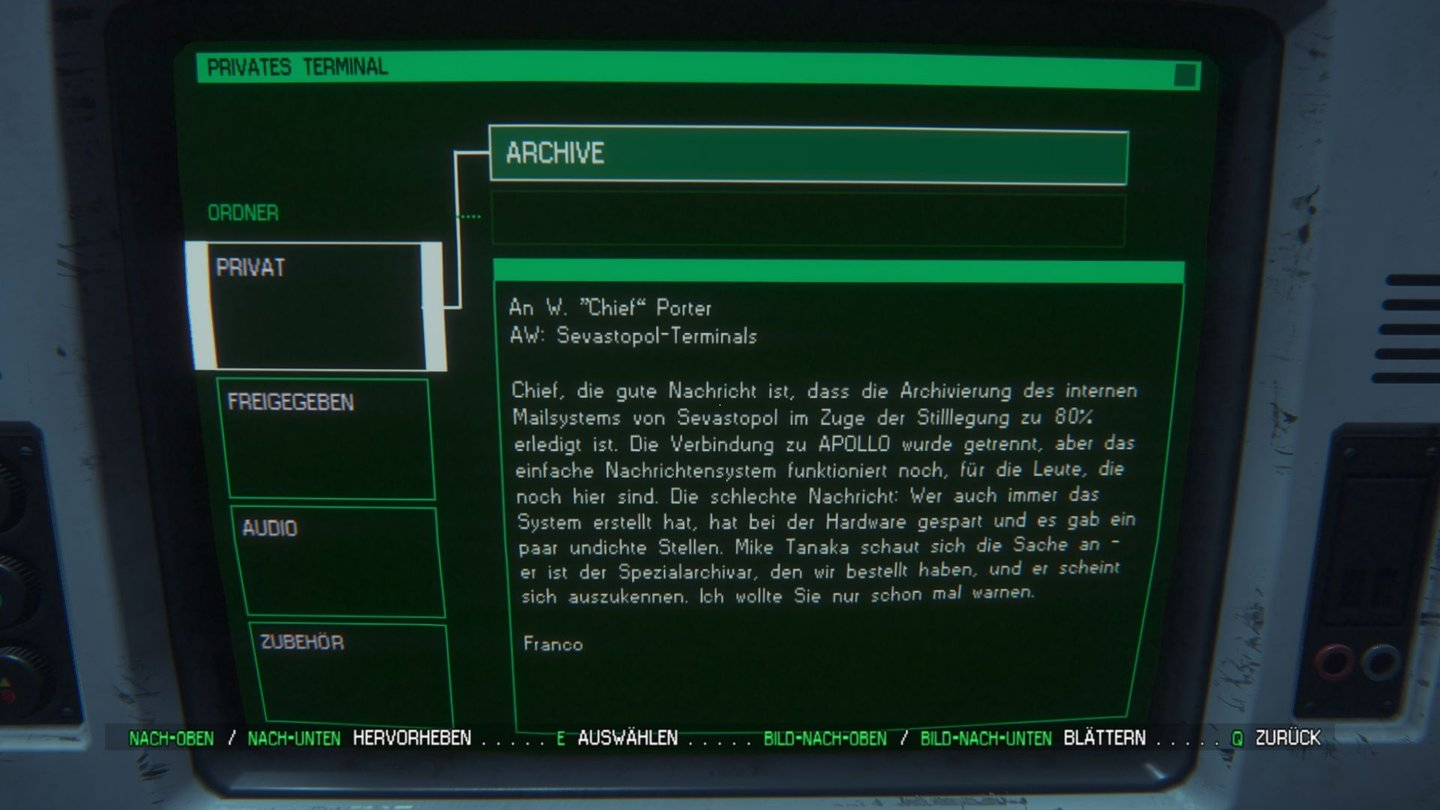 Alien: Isolation - PC-Screenshots aus der Test-VersionDie Rahmenhandlung um das Chaos auf der Sevastopol wird zum guten Teil über solche Emails erzählt.