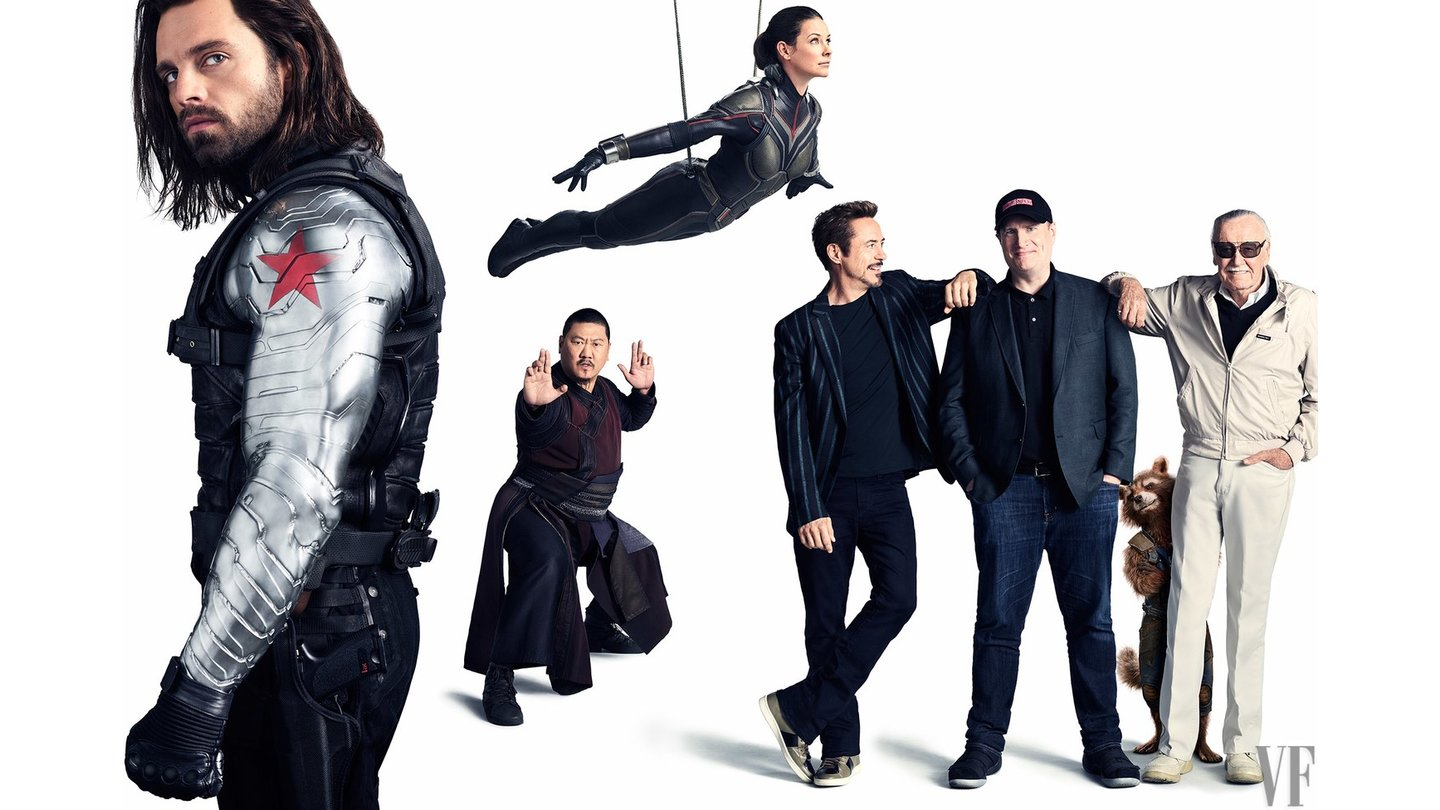 Avengers: Infinity War - Sebastian Stan als The Winter Soldier, Benedict Wong als Wong, Evangeline Lilly als The Wasp, Robert Downey Jr. als Tony Stark, Marvel-Chef Kevin Feige, Bradley Cooper als Rocket Raccoon und Marvel Comics Legende Stan Lee. (c) Vanity Fair