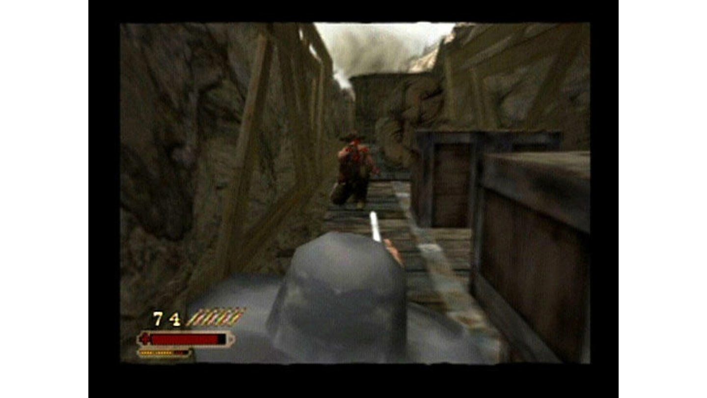 During the attack, the view changes to a closer, almost first-person view.