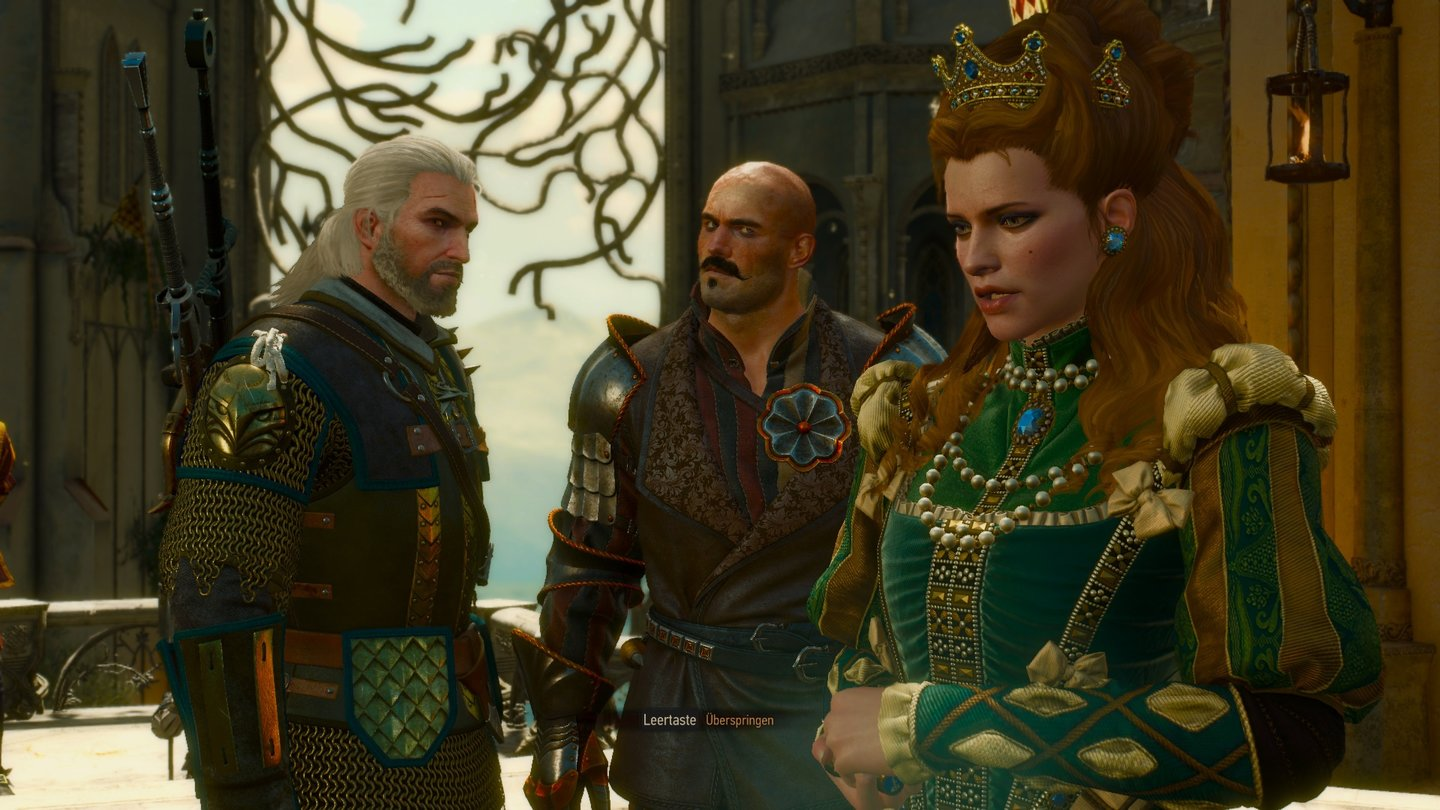 The Witcher 3: Blood and WineFürstin Anna Henrietta berät mit Geralt und ihrem Hauptmann der Wache, wie dem Monster von Toussaint beizukommen ist.