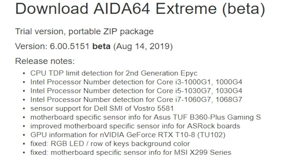 Release Notes von AIDA64 Extreme Version 6.00.5151 Beta.