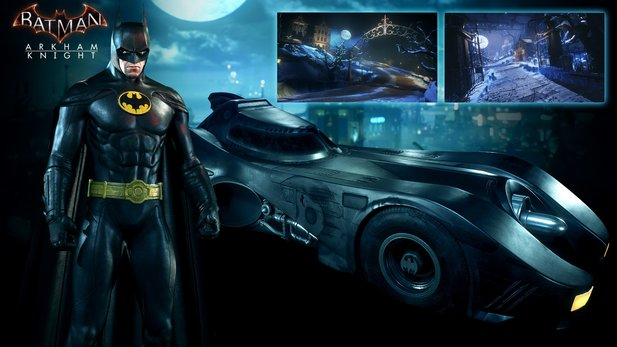 Batman: Arkham Knight lässt Season-Pass-Besitzer ab August als Keaton-Batman auf Gothams Schergen los.