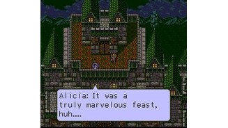A romantic scene between Orsted and princess Alicia. This medieval chapter opens after you have completed all the others