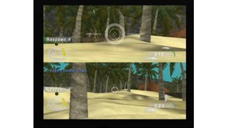 Player 1 (upper screen) is watching an enemy soldier through the sniper, while player 2 (lower screen) is using machine gun to mow him down from the right flank