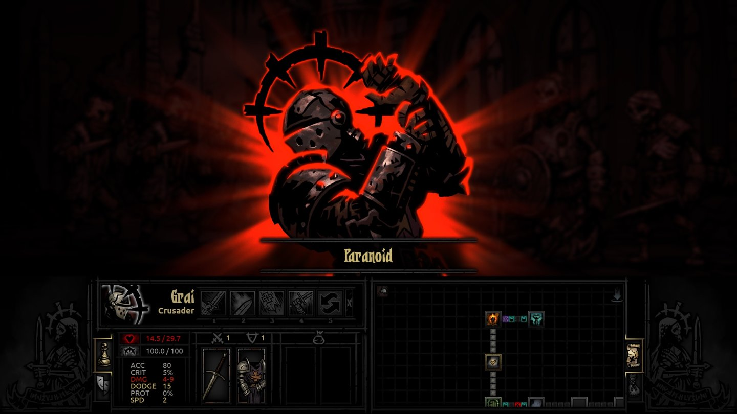 Darkest Dungeon - Early-Access-ScreenshotsLabiler Ritter: Dem Tode nahe wird dieser Held paranoid.